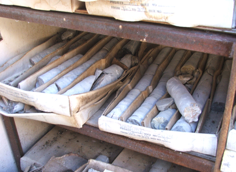 core samples are cylinder shaped rock cores drilled from deep in the earth